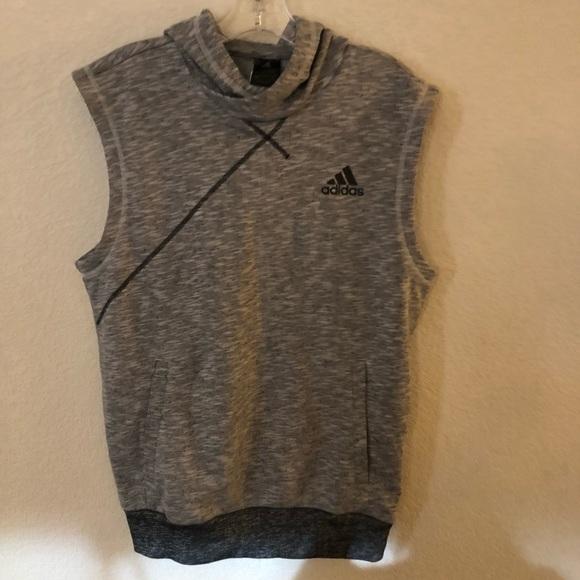 99ee3875b6d5c NWT Mens Adidas Hoodie Sleeveless Cross-Up S Grey